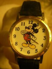 Vintage Mickey Mouse watch Disney Store genuine black leather band new battery