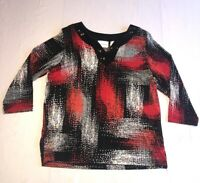 Alfred Dunner size Small women's 3/4 sleeve top Red White & Black v neck