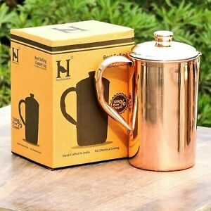 100% Pure Copper Water Jug Solid Plain Pot Pitcher Good For Health Ayurveda AU