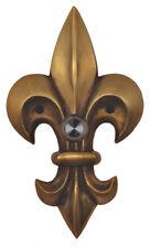 Decorative Doorbell Large Fleur De Lis Lys Antique Brass Lighted Button