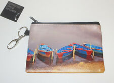 Boats Coin Purse Pouch Key Ring Clip New Shore Tied Up Beach