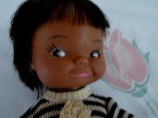 "Plastic Baby Doll 9 1/2"" Dark Skin, Eskimo? Cute Face"