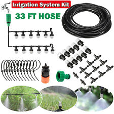 33 ft Drip Irrigation System Plant Garden Self Watering Hose Kit Micro Sprinkler