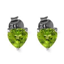 6mm Stunning Genuine Peridot Heart Sterling Silver Stud Earrings Gift