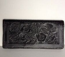 Black Leather Flower Embossed Wallet - Made In South America? Never Used