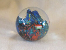 "Round Art Glass Paperweight Fish in the Sea 3"" EXC"