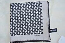 $145NWOT TOM FORD Silver w/ Black geometric mens silk pocket square handkerchief