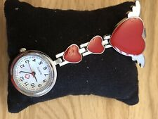 LIGHTLY USED RED HEART NHS NURSES FOB CLIP WATCH PERFECT WORKING CONDITION