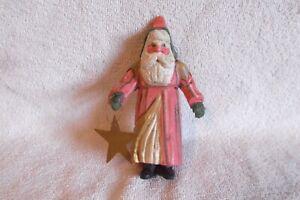 1988 Denise Calla House of Hatten Folk Art Santa Ornament Primitive Style-EXC