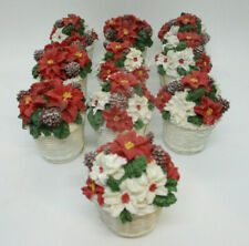Lot of 10 Holiday Baskets with Flowers Resin Decorative Table Village Red White