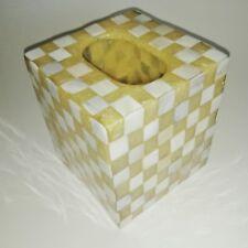 Shell & Resin Light Gold & White Tissue Box Cover