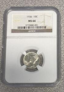 1936 Mercury Dime MS66 NGC -- Beautiful !!
