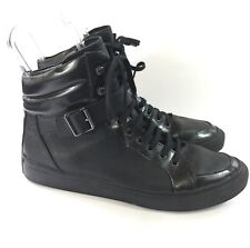 The Kooples Mens Black Grainy Leather Sneakers Sz 43 US 10-10.5 High Trainers