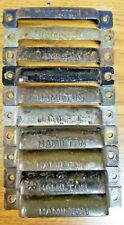 LOT 10 Old Drawer Pull Handle HAMILTON MFG Brass & Steel Printer Type Vintage