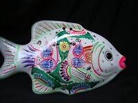 Large Wall fish decor Mexican folk art made of clay and hand painted, Talavera