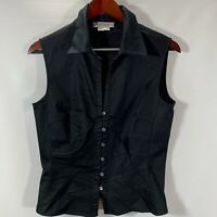 Kay Unger Womens Size 10 Blouse Sleeveless Button Shirt Black Cotton Stretch