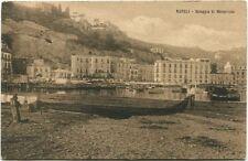 1909 Napoli Spiaggia Mergellina Costa Case Barche Firenze Centro FP B/N VG ANIM