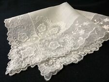 #6407🌟Vintage Wide Needle Lace Hearts & Flowers Linen Wedding Handkerchief