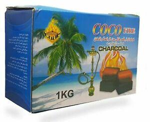 Shisha Hookah Coal Coconut - 1kg 72 Cubes Full Box - COCO FIRE Premium Charcoal
