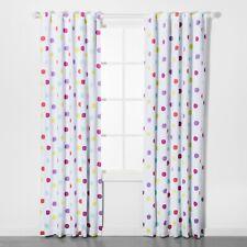 """Pillowfort Kids' Blackout Curtain Set White w Colorful Polka Dots 95"""" x 42"""" B170"""