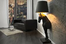 Stehlampe SCHWARZES PFERD Schwarz Gold Marmor Polyresin Polyester Pferd Leuchte