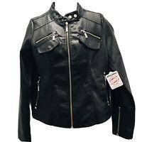 Joujou Womens Motorcycle Biker Jacket Black Zip Up Sleeve Pockets Lined Sz M New