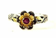 New 14K Gold & 925 Sterling Silver Natural Ruby  Rose Vintage Look New  Ring