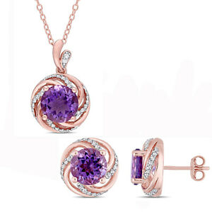 Amour Rose Plated Sterling Silver Amethyst Topaz & Diamond Halo Jewelry Set