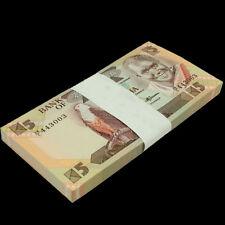 Full bundle lot 100 PCS, Zambia 5 Kwacha, Banknotes Money, 1986-88, P-25d, UNC