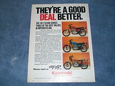 """1977 Kawasaki KZ400 Vintage Motorcycle Ad """"They're A Good Deal Better"""""""
