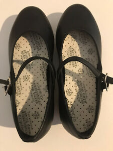 Energetiks Leather Flat Heel Tap Shoes Size 10 Black