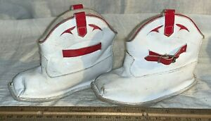 ANTIQUE KIDS TOY COWBOY WESTERN BOOTS SHOES RED WHITE LEATHER VINTAGE CLOTHING