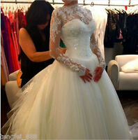 White Ivory Lace Applique Long Sleeve A Line Wedding Dresses Bridal Gowns Custom