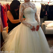White Ivory Wedding Dress Long Sleeve Bridal Gown Custom Size 10 12 14 16 18 20