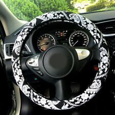 Automotive Ethnic Flax Cloth Elephant Car Steering Wheel Cover Black white 15""