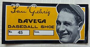 Lou Gehrig Davega Baseball Shoe Box Advertising Label C. 1930s Very Rare