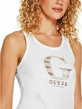 GUESS Womens NEW White Metallic & Rhinestone Logo Graphic Tank Top Cami Size S