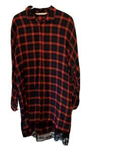 Womens Zara Checked Long Shirt Tunic Size S
