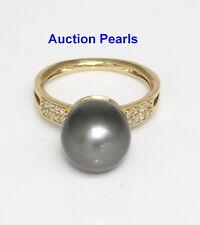 Diamond Tahitian Black Pearl Ring 18kt Gold 11 mm