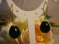 Ohrringe aus Muschelkernperlen Schwarz Tropfen, 925er Silber vergoldet, Geschenk