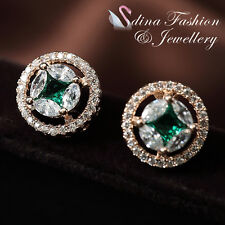 18K Rose Gold GP Made With Swarovski Crystal Emerald Star Halo Stud Earrings