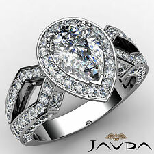 Vintage Style Pear Diamond Engagement Ring GIA H Color SI1 14k White Gold 2.35ct