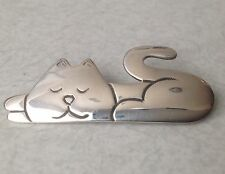Vintage Sterling Contented Kitty Sterling Brooch, Konder #003
