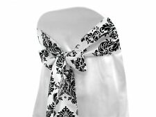 150 Flocking Flocked Damask Chair Sashes Bows Black White Wedding Decorations