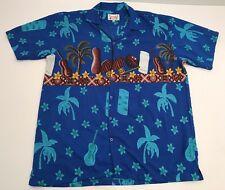 Vtg Waikiki Creations Hawaiian Shirt 100% Polyester Blue Tiki Palm Floral XXL 2X
