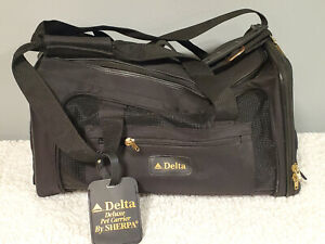 """PET CARRIER Medium 18x11x10"""" Black Sherpa Travel Deluxe Airline Approved ~ NICE!"""