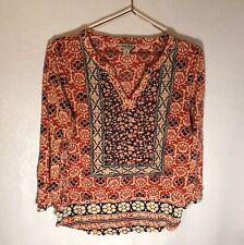 Lucky Brand Womens Blue Red Print 3/4 Sleeve V Neck Boho Blouse M
