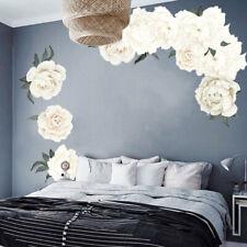 White Peony Rose Flowers Wall Sticker Art Nursery Decals Kids Room Home Decor