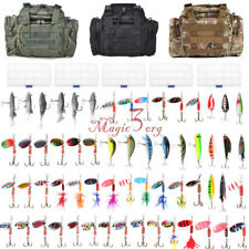 Tackle Bag Fishing Waterproof Storage with 60 Spinners Spoon Lures in 5 Boxes