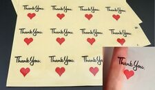 TRANSPARENT ROUND LABELS 'THANK YOU' HEART GIFT FOOD CRAFT STICKERS RED